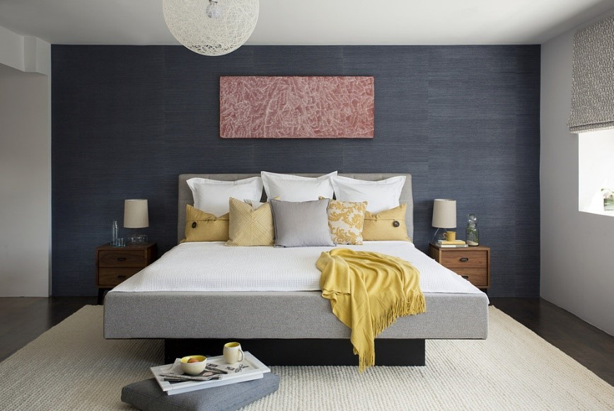Master Bedroom Yellow Accent Wall